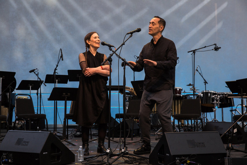 Meredith Monk and Theo Bleckmann, at the Bang on a Can Marathon in 2014.