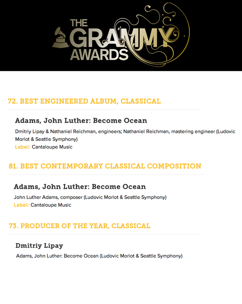 John Luther Adams' Become Ocean is nominated for 3 Grammy Awards
